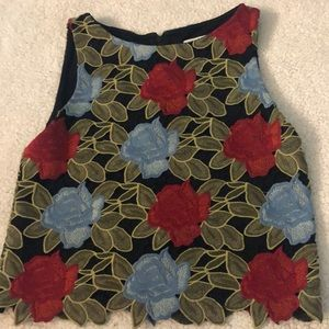 Alice + Olivia Embroidered Shell Crop Top 2